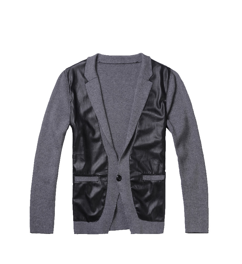 Luxury Leather Stitching Cardigan Black Style-Blazer-Jacken