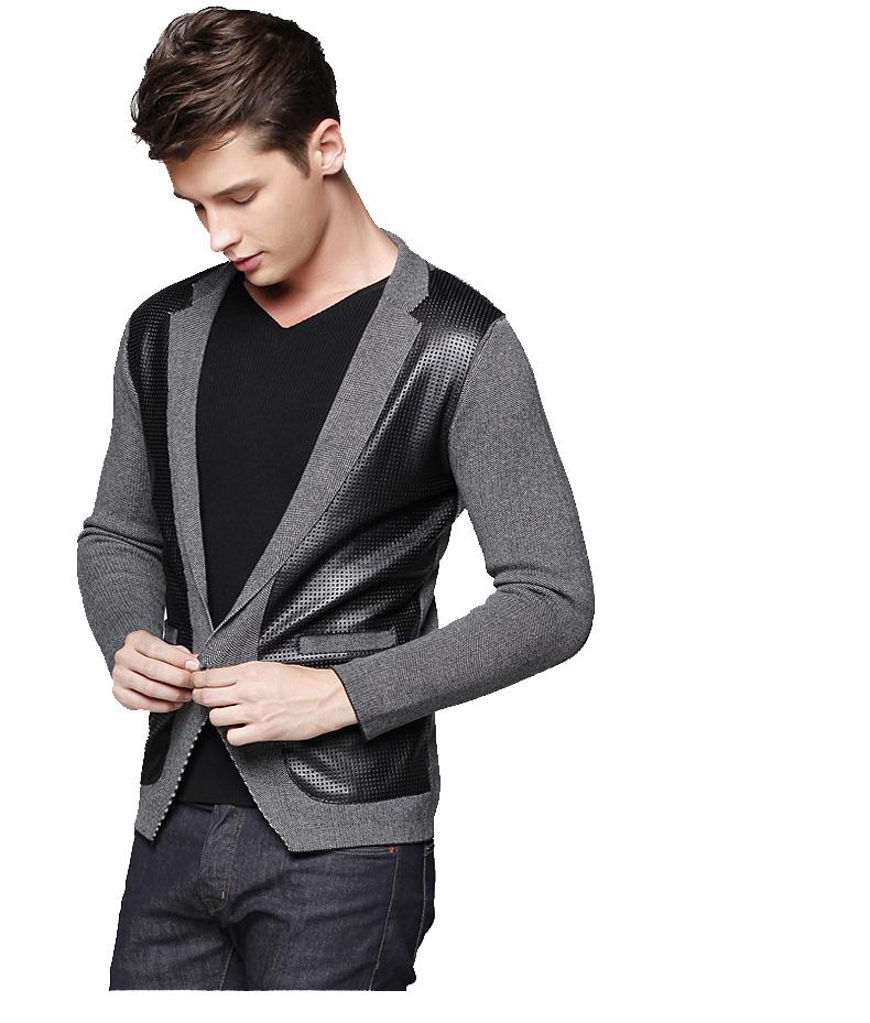 Mens black leather look jacket