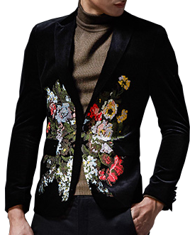 e5a0faf8a74 Sleek New Luxury Mens Black Velvet Floral Blazer
