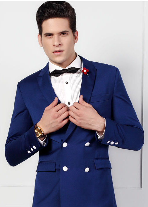 Mens Double Breasted Blue Blazer