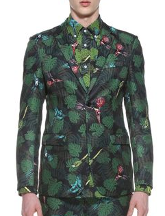 Style Charming Forest Green Floral Plants Trendy Blazer