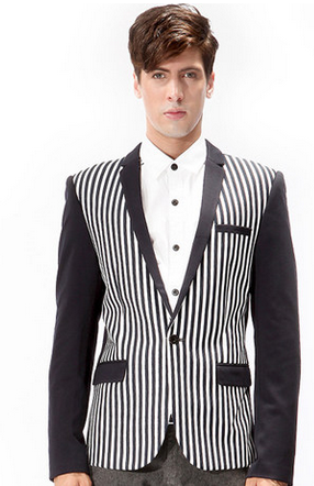 Stylish Black White Striped Blazer
