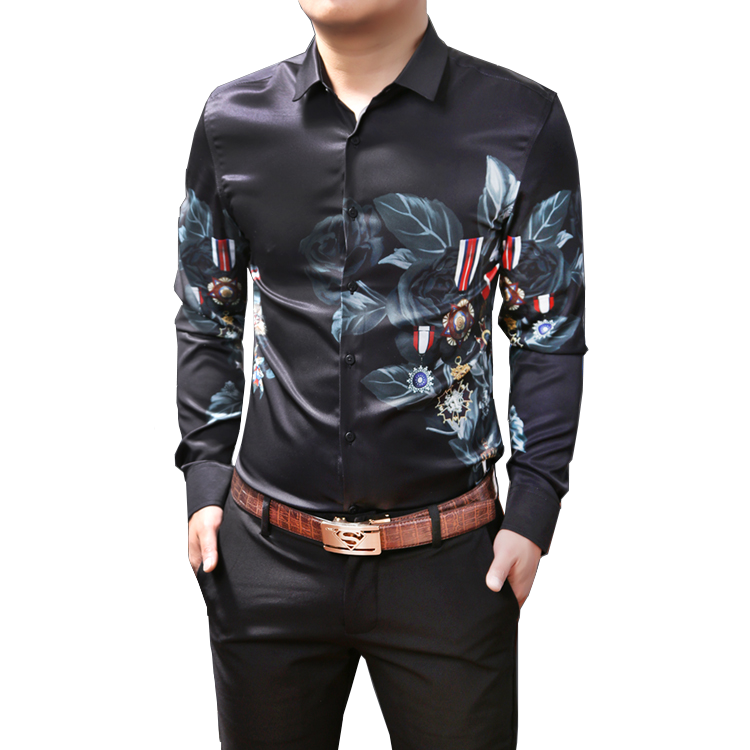 8a2079afe2 Stylish Floral Black Polyester Mens Printed Dress Shirt