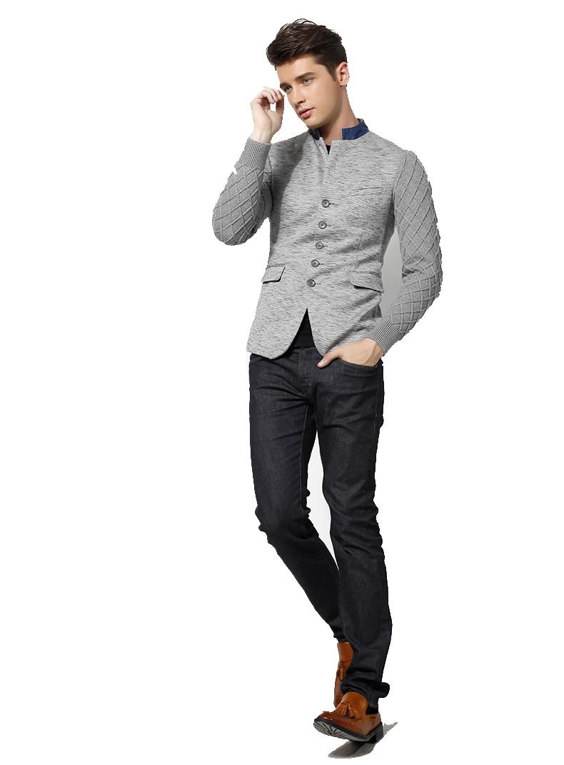 Stylish Stitching Slim Collar Light Gray Blazer Jacket