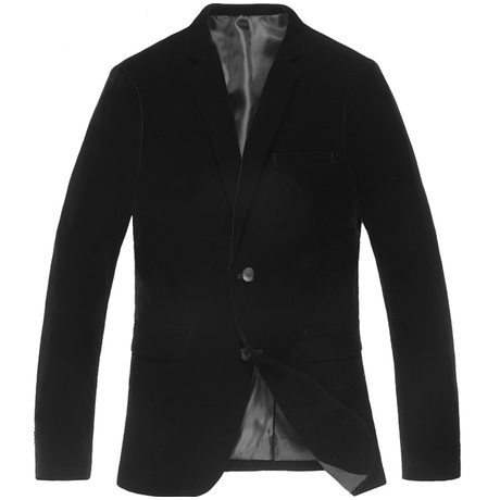 Mens black velvet blazer luxury double buttoned round hem high end via PILAEO