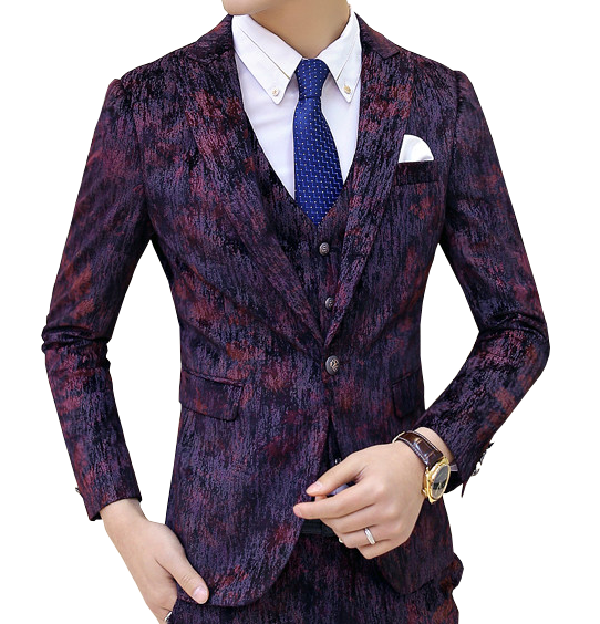 Textured Burgundy Classic Luxury Blazer For Men