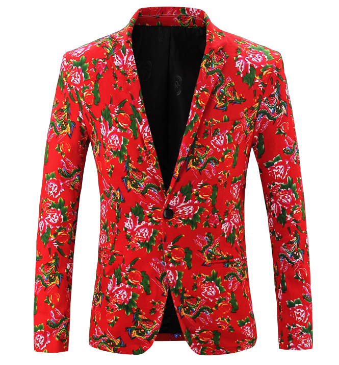 Treasured Red Mens New Floral Stylish Blazer at PILAEO