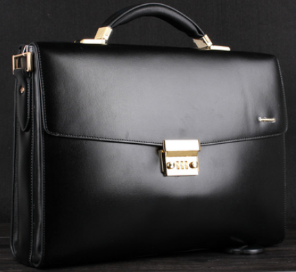 ca68376a61 Smooth Upscale Black Leather Business Gentlemen Briefcase At PILAEO  298