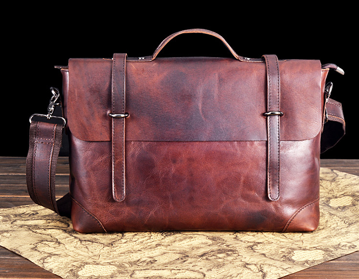 Vintage Brown Modische Herren Aktentasche aus Leder