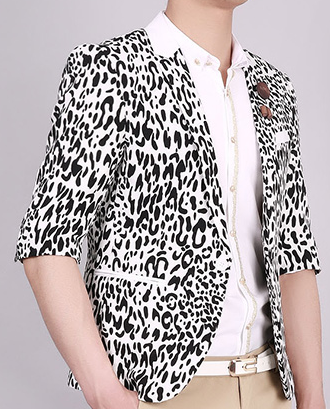 Fashion White Black Leopard Savvy Kurzarm-Blazer