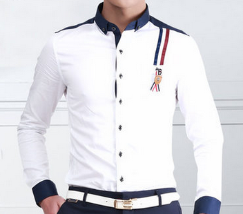 Chemise blanche Down With Blue Collar Marine Place Et Badge