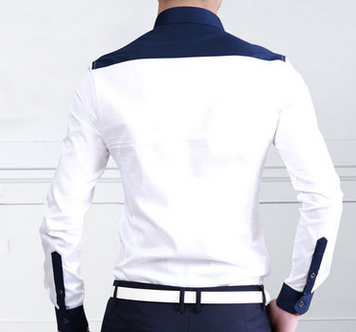 White Button Down Shirt With Navy Blue Square Collar And