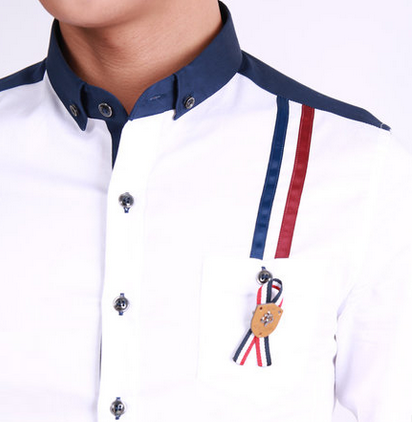 White button down shirt with navy blue square collar and for White shirt with collar pin