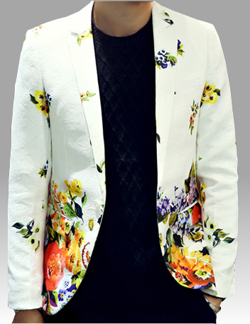 White Multi Color Vibrant Floral Embossed Patterned Blazer Pilaeo