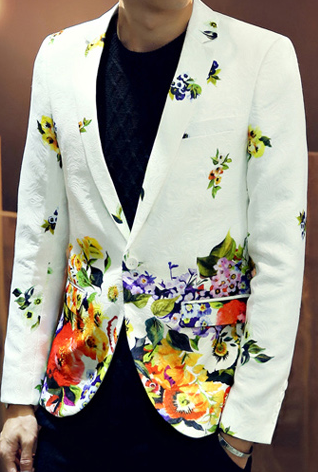 White Multi Color Vibrant Floral Embossed Patterned Blazer