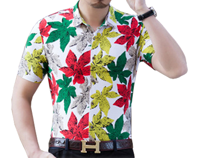 White Red Green Floral Mens Short Sleeve Dress Shirt