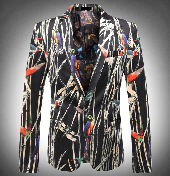Floral blazer for men parrots casual artistic style new luxury PILAEO selection sport coat high end
