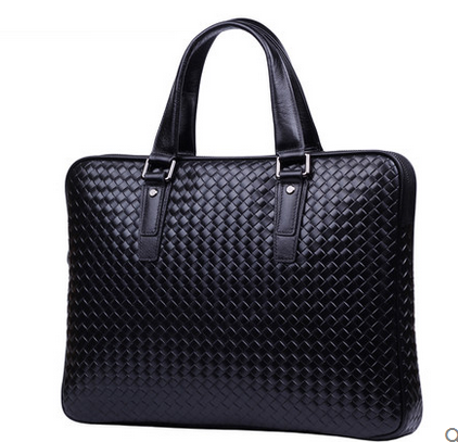 Tissé en cuir véritable noir Mens High End Briefcase