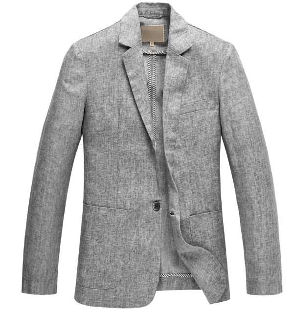 Attraktive Leinen Light Grey Langarm-Blazer
