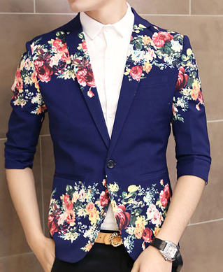 Creative Floral Print Navy Blue In Style Short Sleeve ...