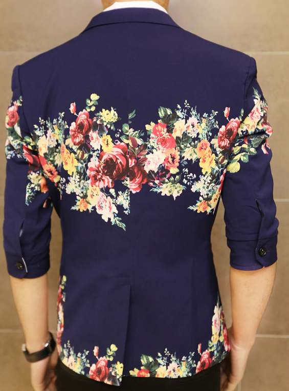 Creative Floral Print Navy Blue In Style Short Sleeve