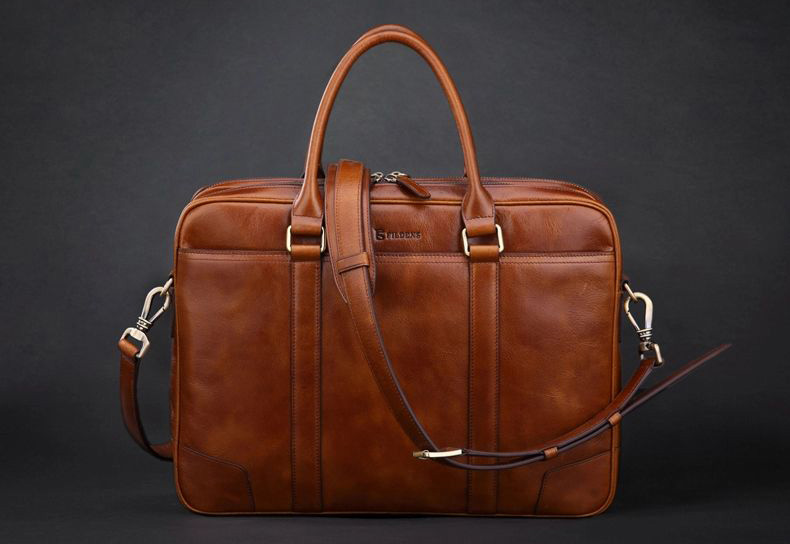Attractive Genuine Shoulder Business Casual Leather Brown Bag - Suggested from PILAEO Magazine Briefcase Guide