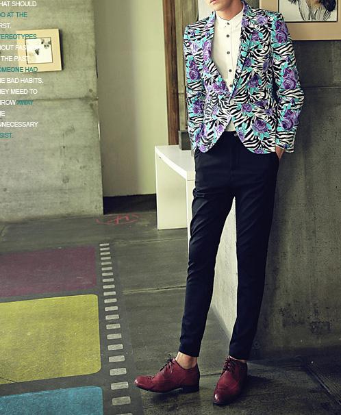 Men's Zebra Print Floral Blazer