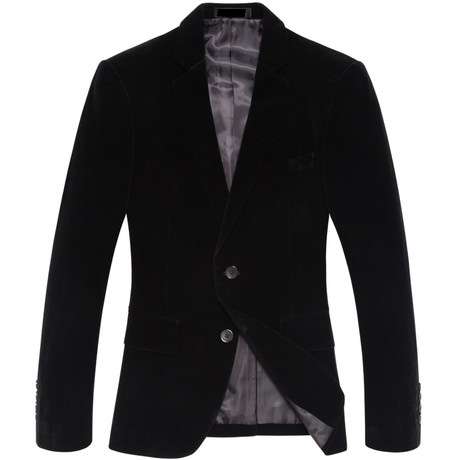 Sentido exclusivo da Light Gold Black Velvet Blazer Jacket