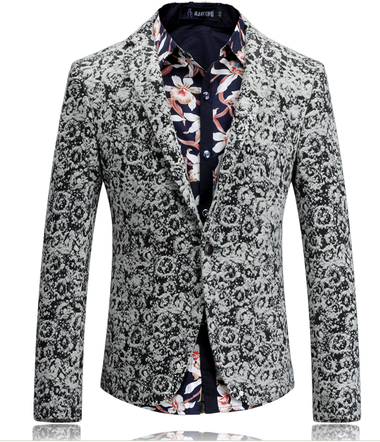 Attractive Black White Camouflage Wool Blend Blazer Pilaeo