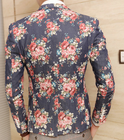Blue Jeans Blazer With Floral Print 2014 Style Pilaeo