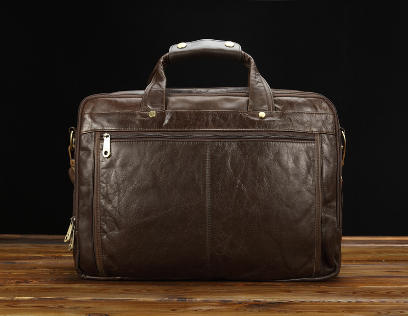 Business Casual Large Capacity Briefcase Men Shoulder Brown Bag