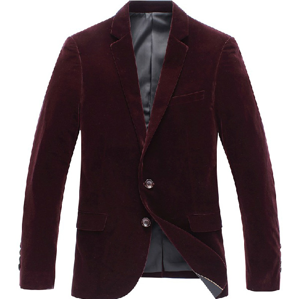 Stilvolle Velvet Schlank Dick Jacket Red Stil Blazer-Jacken-