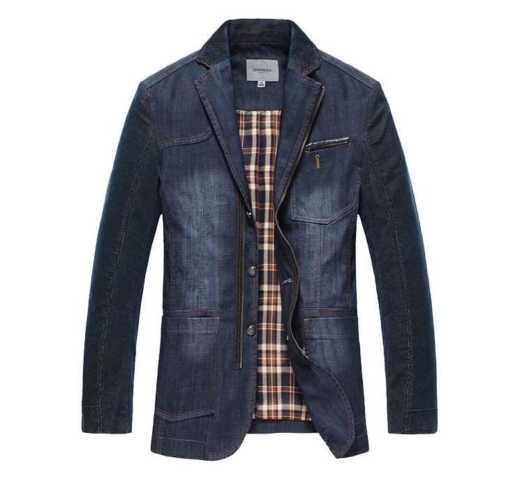 * Lässige Denim Jeans Blau Single Button Blazer