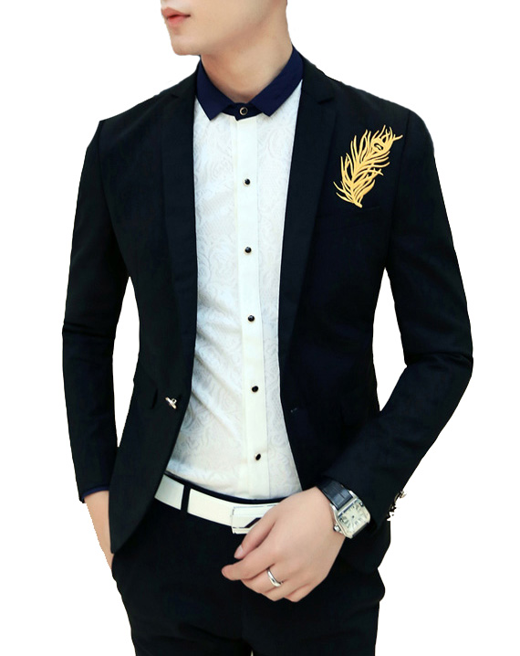 Bezaubernde Gold Feather Schwarz Slim Fit Blazer
