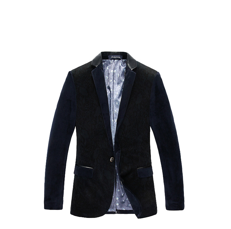 Navy Charming Blau Schwarz Luxury Single Button Velvet Blazer