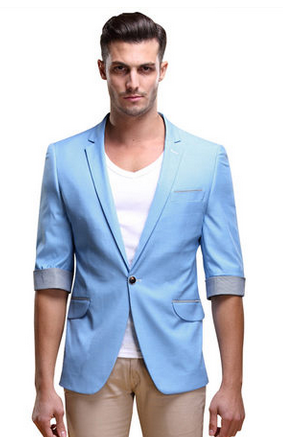 * Chic Light Blue Summer manga curta Blazer Com Bordas da manta