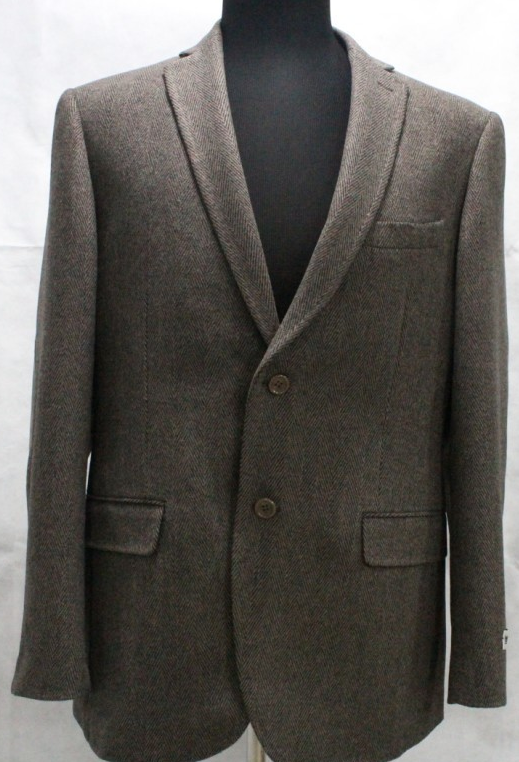Clássico Brown Herringbone Sports Brasão Gentleman Blazer