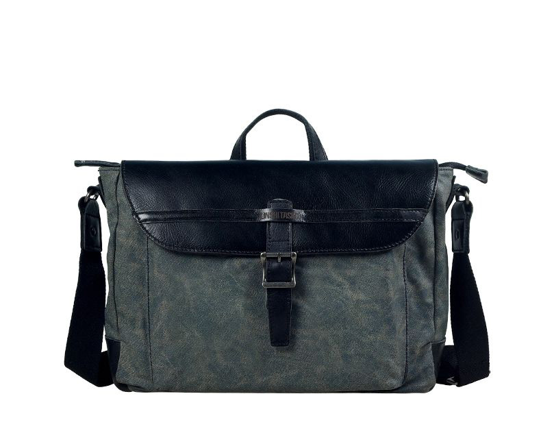 Classic Canvas Mens Shoulder Messenger Black Bag