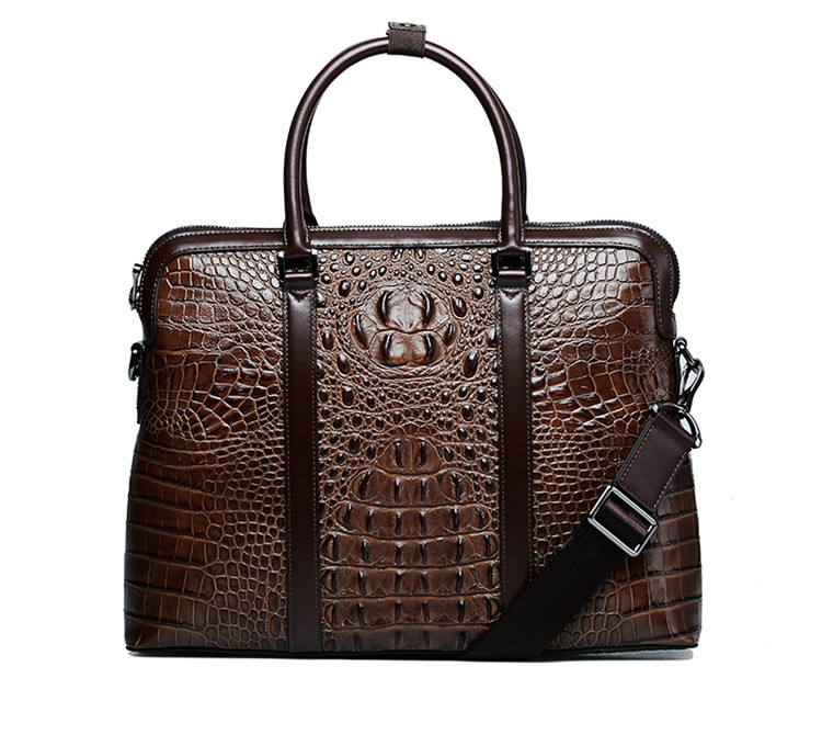 Classic Crocodile Genuine Leather Texture Brown Bag
