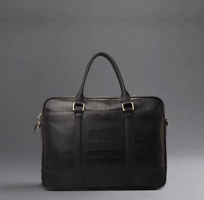 Crocodile cuir classique Diagonal Croix-Section Bag Black