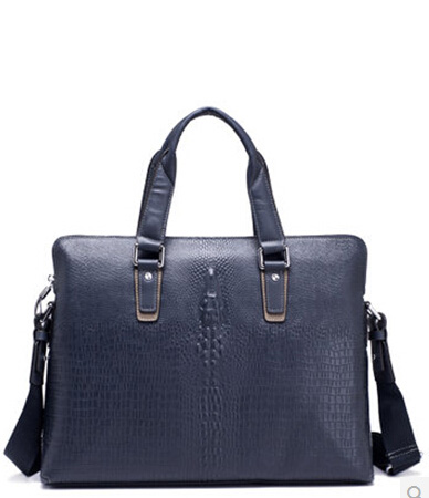 Clássico Couro Business Casual Leather Shoulder Bag Azul