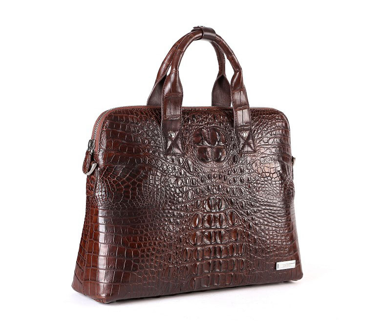 Classic real Alligator negocios Mens Casual Brown Bag