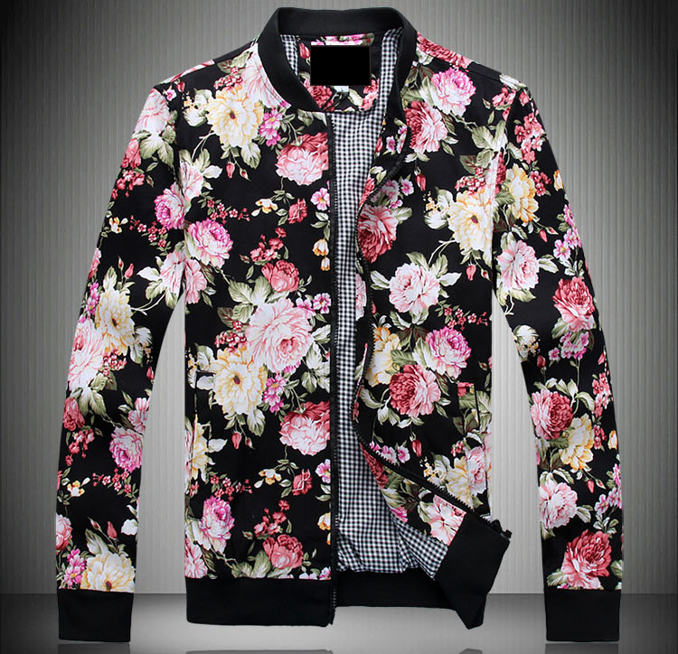 Classic Style Mens Floral Black Zip Up Bomber Jacket Pilaeo