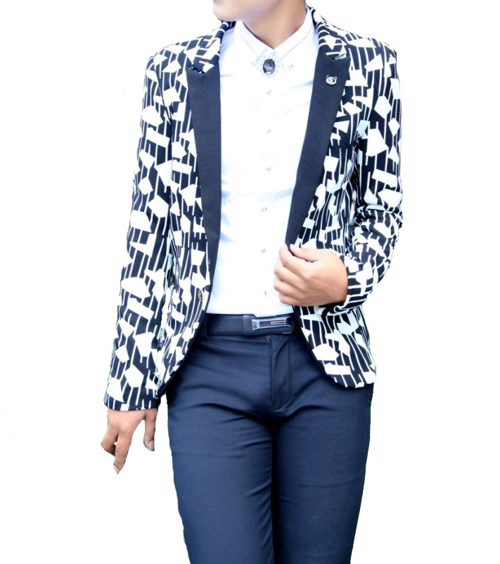 Refrigere Geometric Shaped Black White Stripes Blazer