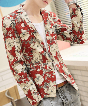 Men's Red Floral Blazer