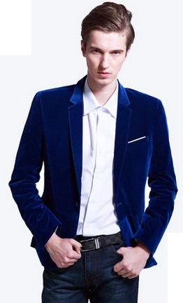 ** PILAEO Royal Blue Velvet Blazer