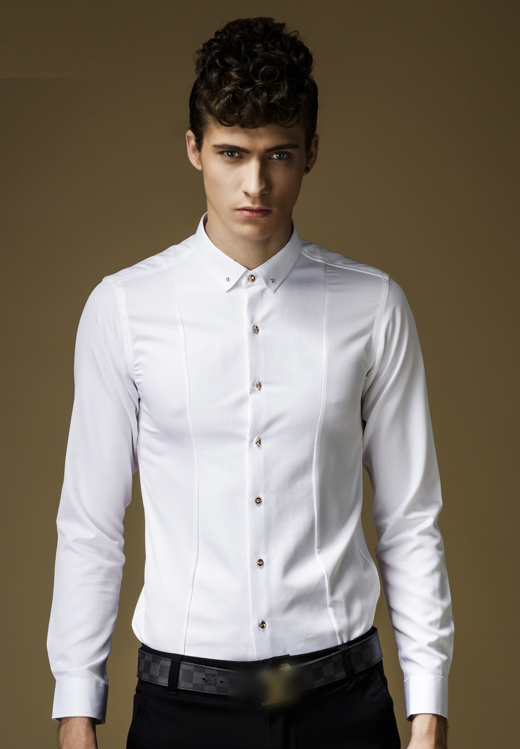 Pilaeo stud collar white button down shirt with golden for Mens button collar shirts