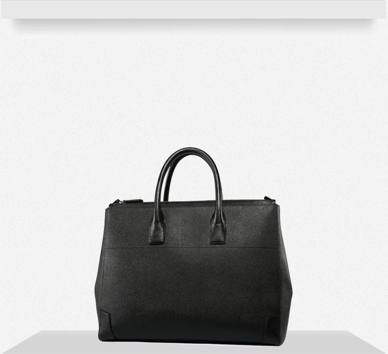 e3ab808564 Cross Pattern PILAEO FASHION Men Leather Business Black Bag FP66