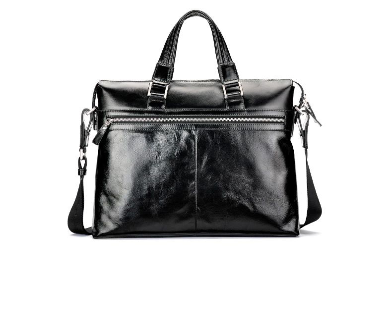 Modern Cross Section Business Messenger Leather Black Bag
