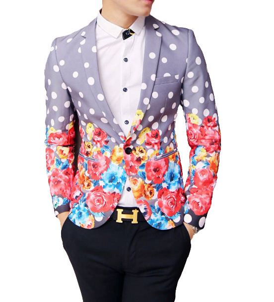 Dotted haut de gamme brillant Floral Purple Fashion Blazer